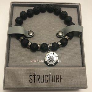 Men's Stainless Steel, Onyx & Lava Bead Bracelet